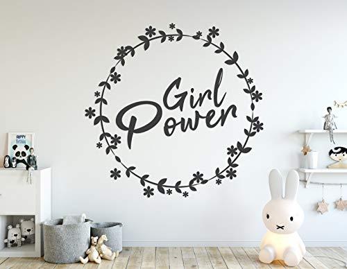tjapalo® a126 Wandtattoo Mädchenzimmer Wandaufkleber Girl Power Kinderzimmer Türschild Jugendzimmer Wanddekoration, Farbe: dunkelgrau, Größe: B30 x H26cm