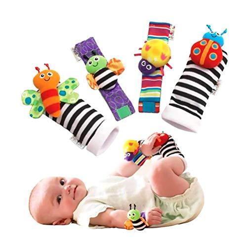 Fußrassel für Baby, Baby Rasseln Spielzeug, 1 Para Baby Handgelenk Rasseln und 1 Para Socken Rasseln Set Pädagogische Entwicklung Plüschtiere Baby Geschenk
