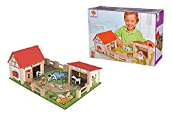 Your little farmer will fall in love with this classic wooden farm playset, complete with detailed and colourful models of buildings, fencing, people and cute animals. The bright, fun play board creates a highly-detailed, immersive world that will le...