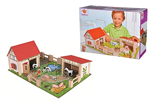 Eichhorn 100004308 - Bauernhof mit 2 Gebäuden, Spielplatte, Figuren, Tieren, Zäunen; 25-tlg, 36x51cm, Buchenholz