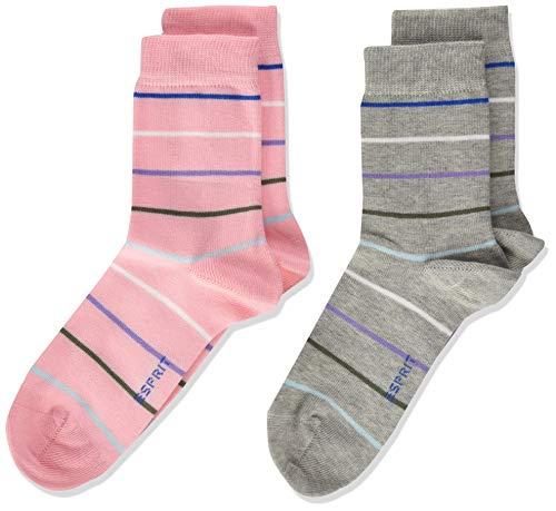 ESPRIT Unisex Kinder Colorful Stripes 2-Pack K SO Socken, Mehrfarbig (Sortiment 20), 35-38 (9-12 Jahre) (2er Pack)