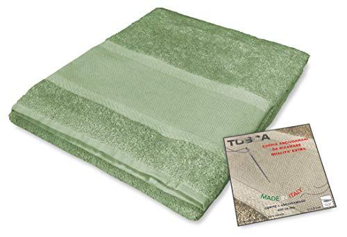 Tex Family - Juego de toallas de rizo Tosca © tela Aida para bordar punto de cruz 1 + 1 para cara y invitados, color verde