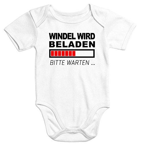 MoonWorks lustiger Baby-Body Windel Wird beladen Bio-Baumwolle Kurzarm Aufdruck weiß 0-3 Monate
