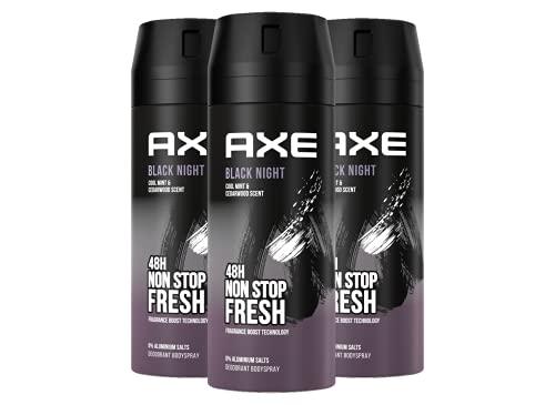 Axe Black Night Bodyspray Set Herren 3er Pack ohne Aluminiumsalze (3 x 150 ml)