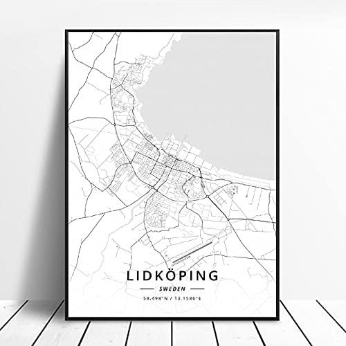 Lldkoplng Uppsala Linkoping Malmö Trollhättan Helslngborg Sweden Canvas Art Map Poster ?ZQ-1391? Ingen ram poster 40x50cm