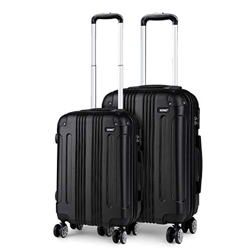Kono Set of 2 Lightweight ABS Hard Shell Suitcase 20' Carry-on Hand Cabin Suitcase + 24' Check in Luggage with 4 Spinner Wheels (Black)
