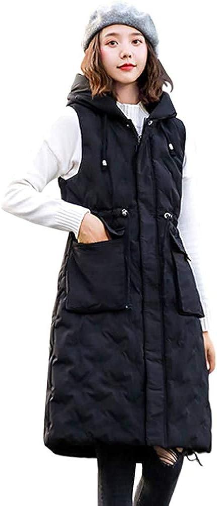 Migogo Mujer Sin Mangas Chaleco Abrigos Las Damas Invierno Calentador de Cuerpo Largo Algod/ón Chaleco Acolchado Con Capucha Prendas de Abrigo Cremallera Chaleco Chaqueta