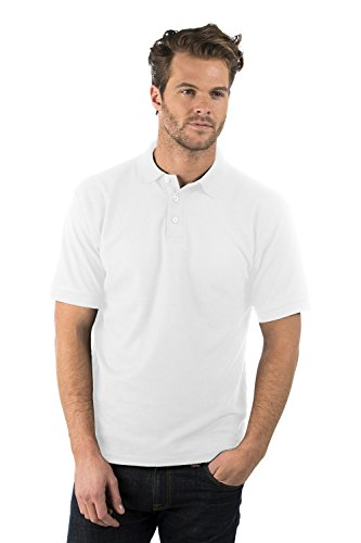 Bruntwood Prime Polo Chemise - Premium Polo Shirt - Homme & Femme - 220GSM - Polyester/Coton (Blanc, L)