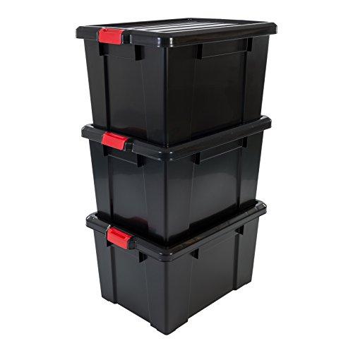 Iris Ohyama 3er-Set, Aufbewahrungsbox, DIY, 68 L, mit Clips, stapelbar, Garage - Power Box SK-700 - Schwarz