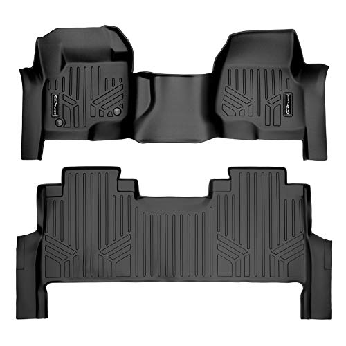 MAXLINER Floor Mats 2 Row Liner Set Black for 2017-2021 Ford F-250/F-350 Super Duty Crew Cab with 1st Row Bench Seat