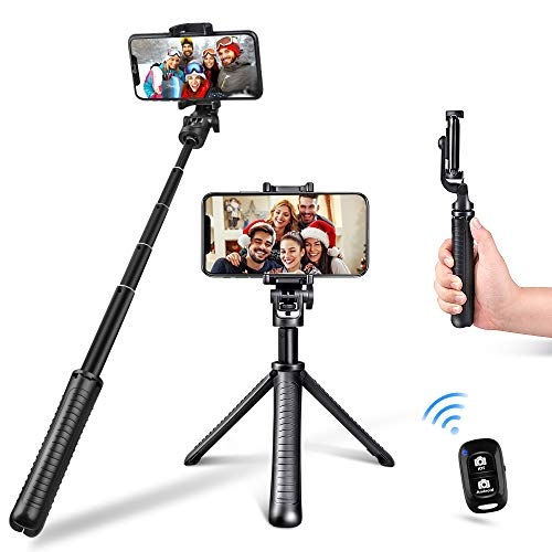 Selfie Stick, Aureday Multifunctional Extendable Lightweight Cell Phone Selfie Stick Tripod Stand with Wireless Remote & Phone Holder Mount, Compatible with iPhone & Android Phone & GoPro