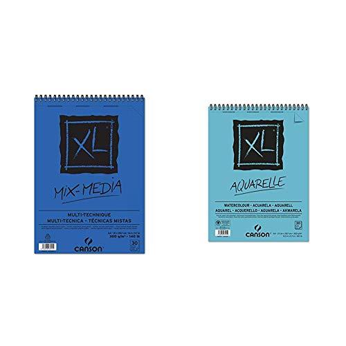 Canson Álbum Espiral Microperforado, A4, 30 Hojas, XL Mix Media, Grano Texturado 300g + spiral Microperforado, A4, 30 Hojas, Canson XL Aquarelle, Grano Fino 300g