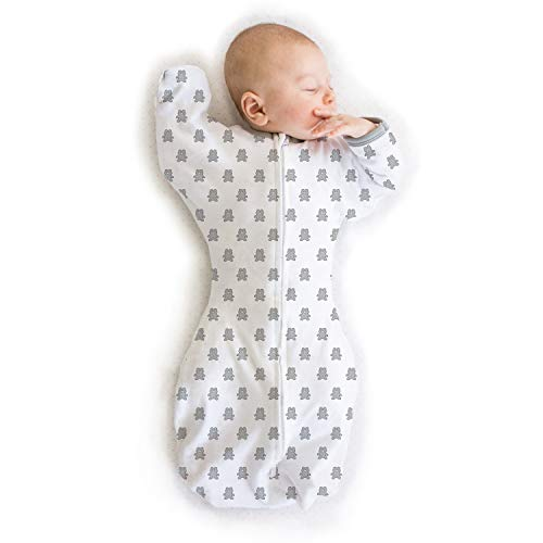 Amazing Baby Transitional Swaddle Sack with Arms Up Half-Length Sleeves and Mitten Cuffs, Tiny Bear, Sterling, Medium, 3-6 Months (Parents