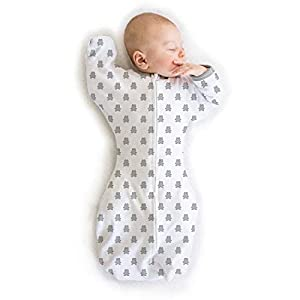 Amazing Baby by Swaddledesigns, Saquito de Algodón de Transición Para Bebé con Manoplas y Movimiento Libre Swaddle Sack with Arms Up, Oso Pequeño, Plata, Mediano 3-6 Meses