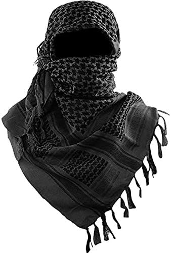 Military Shemagh Tactical Desert Scarf 100 Cotton Keffiyeh Scarf Wrap for Men And Women Black product image