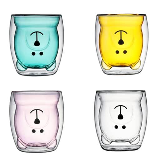 QIANJINGCQ, taza de oso de vidrio doble de dibujos animados creativos, taza de café, té, leche, lindo panda, taza de café expreso, frasco de vacío doble, regalo de cumpleaños