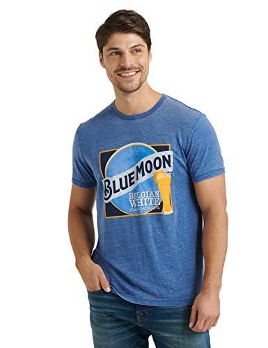 Lucky Brand - Maglietta a maniche corte, girocollo, colore: Blu luna - Blu - XL
