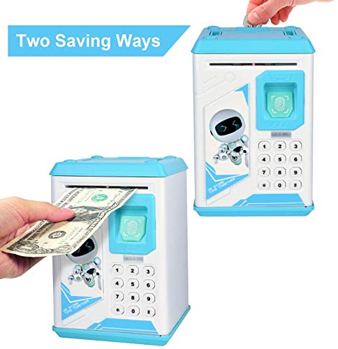 Piggy Bank, Electronics, Children, Cartoon Password ATM Real Money, Automatic Money roll, Animated Robot, Cute and Funny Children's Toys, Bank (Blue)