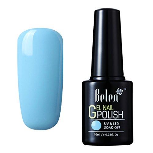 Belen Esmaltes de Uñas Gel UV LED Semipermanente Serie de Color Azul Top Coat Base Coat Manicura y Pedicura 10ml-01
