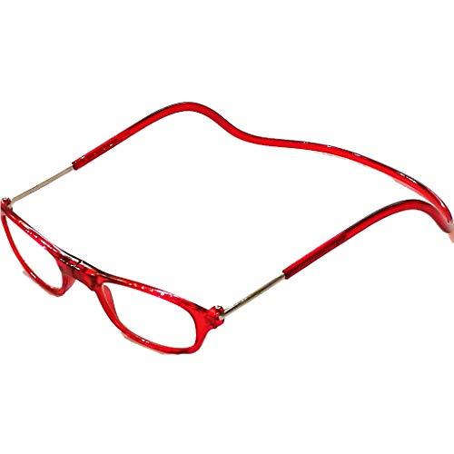 Heren dames leesbril magneet scheidbaar zwart klassieke vorm en kleuren licht veerbeugel matte look 1.5 rood