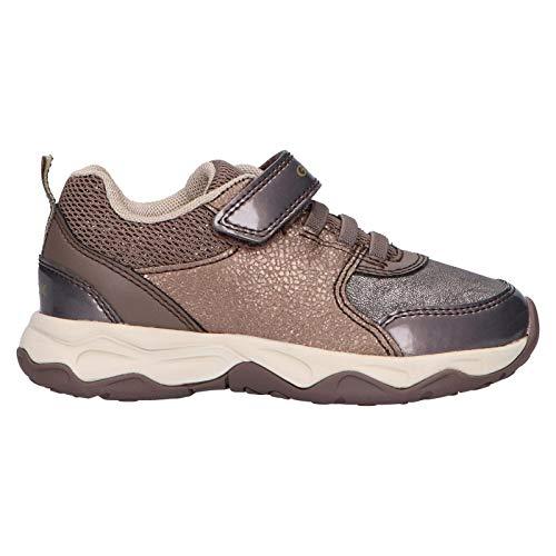 Geox Mädchen Sneaker CALCO Girl, Kinder Low-Top Sneaker,lose Einlage, detailreich Freizeit Halbschuh sportschuh Klettschuh,Smoke Grey,36 EU / 3 UK