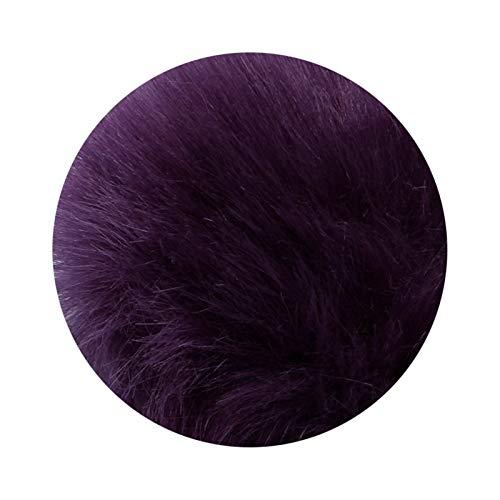 Llavero 1 unids 8cm Fake Fur Marca Bolsa Llavero Pompom Coche Llavero Llavero Plata Cadenas de Color Pompons Fake Fox Conejo Charms Charms Cadena A Stranger Things Llavero (Color : Deep Purple)