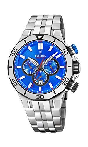 FESTINA Reloj Modelo F20448/2 de la colección Chrono Sport, Caja de 44 mm Azul con Correa de Acero para Caballero