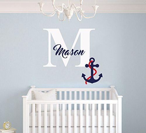 """e-Graphic Design Inc Custom Name & Initial Navy Anchor - Nautical Series - Baby Boy Girl Decoration - Mural Wall Decal Sticker for Home Interior Decoration Car Laptop (MM42) (Wide 22"""" x 20"""" Height)"""