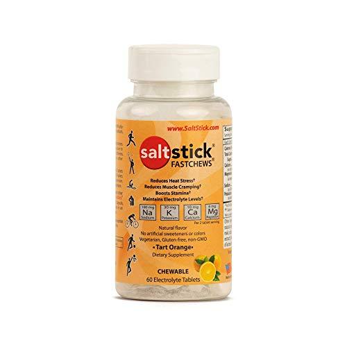 SaltStick Fastchews Orange 60 Elektrolyt-Kautabletten mit Salz, Mineralstoffen (Natrium, Kalium, Calcium, Magnesium) und Kohlenhydraten, 99 g