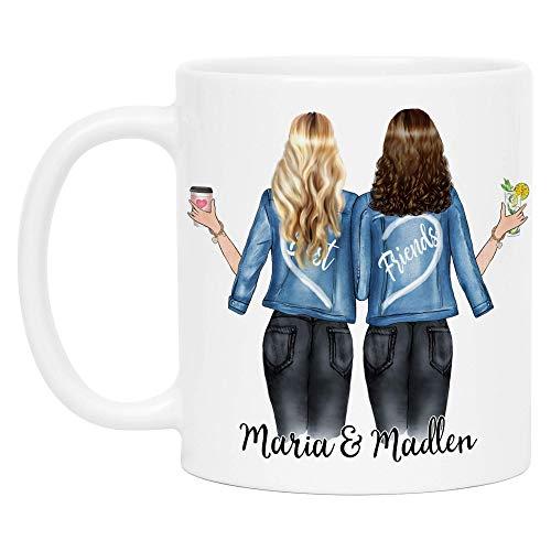 Kiddle-Design Beste Freundinnen Tasse Personalisiert Beste Freundin mit Name Geschenk Freundinnengeschenk Kaffeetasse