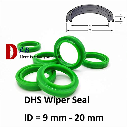 Ochoos DHS Wiper Seal ID = 9 mm - 20 mm Dust Ring Double Lip Seal Hydraulic Cylinder Parts Industry Polyurethane (PU) Rubber - (Size: 20x26x3.6x4.6)