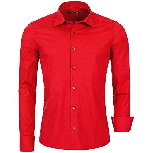 Redbridge Herren Hemd Slim Fit Business Hochzeit Freizeithemd Langarm Bügelleicht R-2111 (M, Rot (Red))
