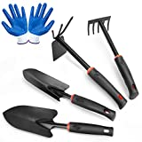LeeZivvv Garden Tools Set, 5 Piece Premium Gardening Hand Kit Includes Garden Shovel, Hand Trowel, Rake, Dual-Purpose Hoe with Soft Non-Slip Rubber, Gardening Tools Gift for Women Men(Black)