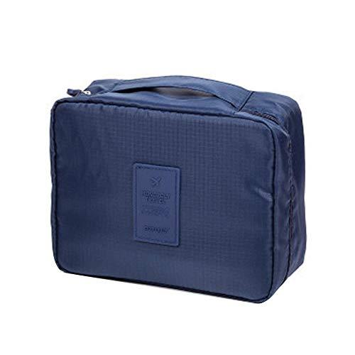 Parshall, borsa da toilette per cosmetici, da viaggio, grande, con manico e cerniera, 210 x 160 x 80 mm, blu
