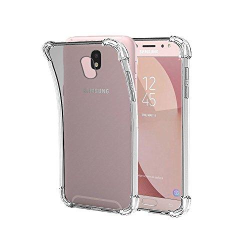 REY Funda Anti-Shock Gel Transparente para Samsung Galaxy J7 2017, Ultra Fina 0,33mm, Esquinas Reforzadas, Silicona TPU de Alta Resistencia y Flexibilidad
