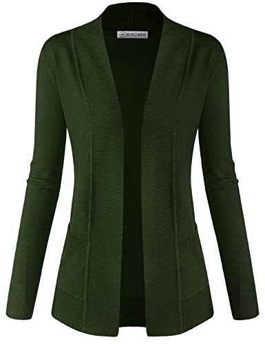 BIADANI Women Classic Soft Long Sleeve Open Front Cardigan Sweater Olive 3X-Large
