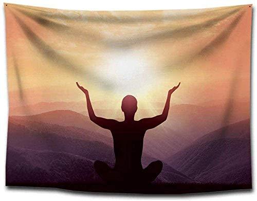 India Yoga Meditación y Tapiz de Sol Espiritual Zen Meditación Montaje en la Pared Práctica Mental Mar Montaña Arte de la Pared Tapiz 150cmx200cm