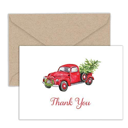 Paper Frenzy Red Christmas Truck Hauling a Christmas Tree Holiday Thank You Note Cards and Kraft Envelopes - 25 pack
