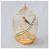 鳥ケージ 家庭用ゴールデンオウムの鳥のケージのための黄金のオウムの鳥の檻のためのゴールデンオウムの鳥の檻のための鳥のおもちゃのための大きな携帯用鳥のケージ 鳥かご・ケージ (Color : Gold)