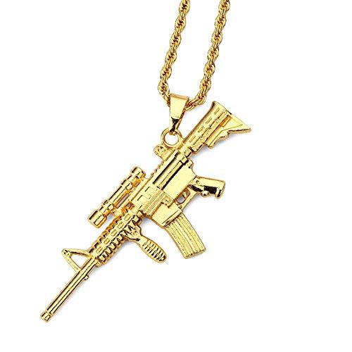 MCSAYS Collar con colgante de rifle de francotirador chapado en oro, de aleación