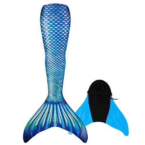 DNFUN Mädchen Meerjungfrau Schwanzzum Schwimmen mit Meerjungfrau Flosse 150-160 cm Höhe,für Kinder undErwachsene Kostüme,DH38-Blau,S