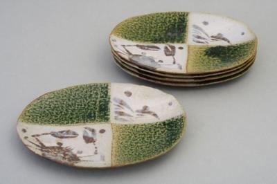 日本製 小鉢 耐熱 織部カニ絵 銘々皿揃(5枚セット) 取り皿 丸皿