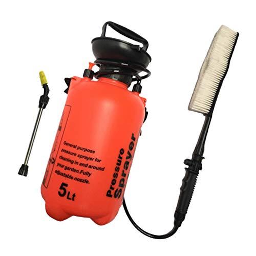 5L Tragbare Manuelle Hochdruckreiniger Handpumpe Sprayer Pinsel Autowäsche - Orange