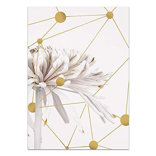 U/N Chica Conejo Blanco crisantemo Lienzo Pintura Cartel e impresión Sala de Estar Cuadro de Arte de Pared para habitación decoración del hogar-9