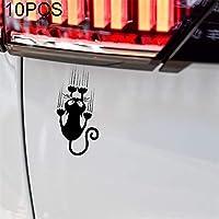 林10 PCS YOJA防水猫柄車のステッカーおかしい動物ビニールデカールカーウィンドウバンパーステッカー、サイズ:7.5x15cm(ブラック) HHM (Color : Black)