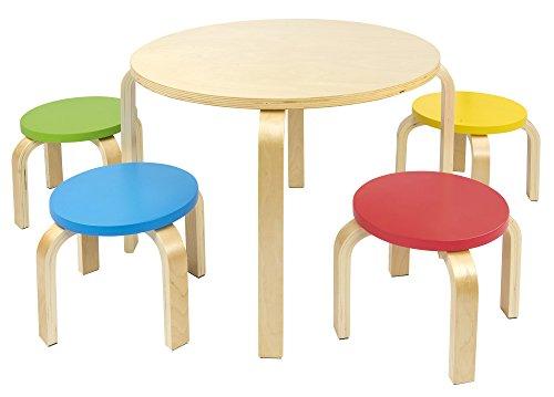 Leomark Mesa Redonda de Madera para niños de 4 y sillas de Colores, Mesas y sillas Infantiles de Madera, Juego de Muebles Infantiles, para Cuarto de los niños, Altura: 45,5 cm