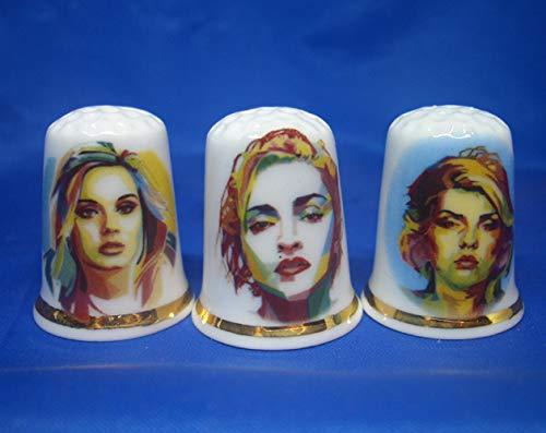 Porselein China Thimbles Set van drie - Pop Art Music Dames