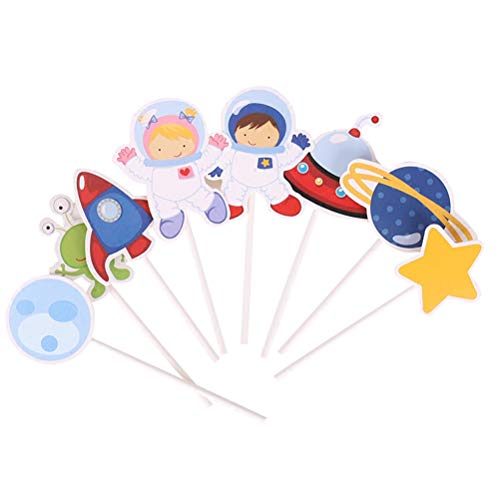 NUOBESTY Kuchendekoration Space Astronaut Rakete Kuchendekoration Erde Cupcake Topper Stern Kuchen Picks für Kindergeburtstag, 48 Stück