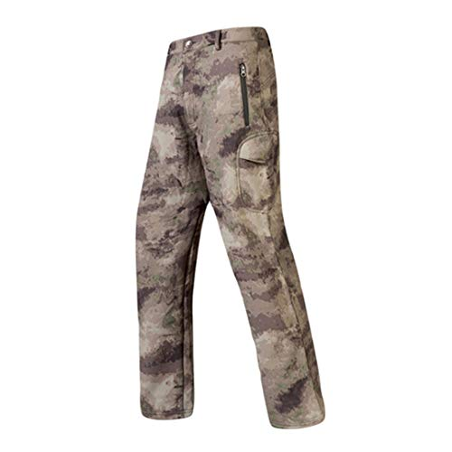 Oinrenstkp Jagdhose Softshell Fleecehose Army Camouflage Winddichte wasserdichte Wanderhose Yellow Camouflage 4XL
