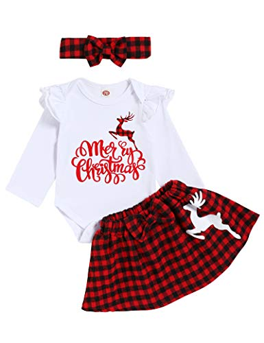 My First Christmas Outfits Baby Girl Long Sleeve Romper+ Suspender Skirt + Headband Clothes Set (Red Plaid, 0-3 Months)